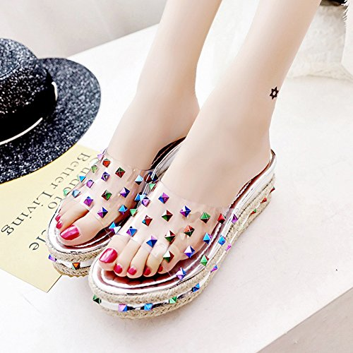 exterior Plata Plata de La arena verano zapatillas EU39 colores Zapatos Con Playa UK6 Ropa zapato altura moda LIXIONG Color 4cm Moda Hembra 245 CN39 Antideslizante 2 La de Tamaño qXxn1f
