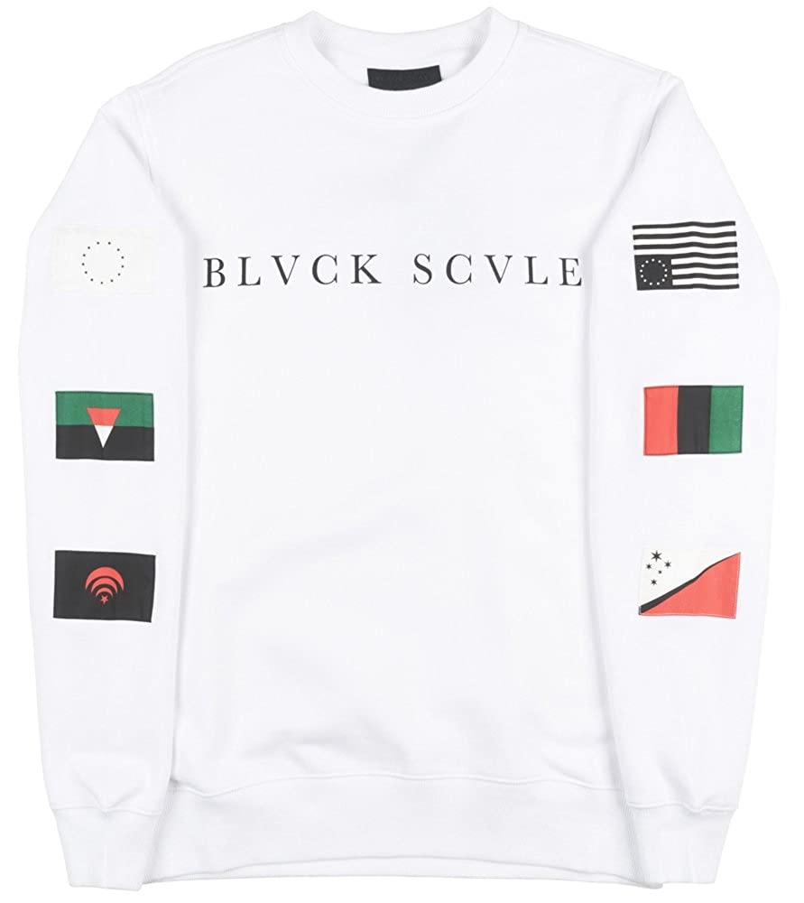 Black Scale Multinational Mens Crewneck in White