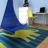 Mohawk Home Friendly Dinosaur Blue Striped Printed