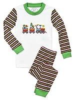 Sara's Prints Baby Unisex Kids All Cotton Long John Pajamas, Santa Train-Sgrt, 12M