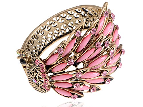 Alilang Womens Antique Golden Tone Peacock Bracelet Bangle With Pink Crystal Rhinestone Gems