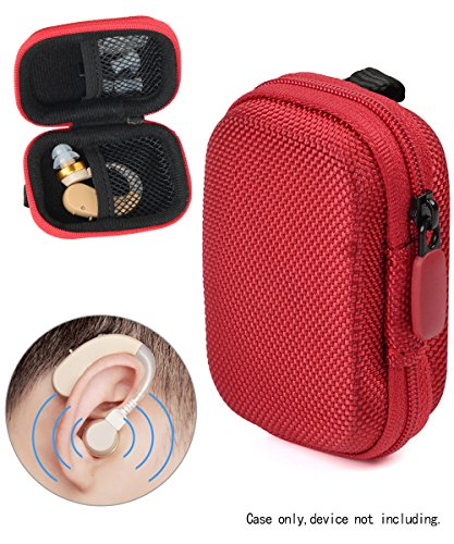 (Designed Protective Case for Hearing Aid, Hearing Amplifier, Personal Sound Amplifier, Hearing Device, Listening Device, Strong Mini Case with Mesh pocket, Universal design (Ballistic Red))