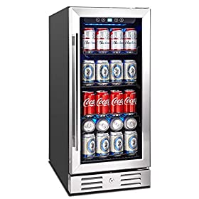 Kalamera Beverage Cooler and Fridge – Fit Perfectly into 15 inch Space Under Counter or Freestanding – 96 Cans Capacity – for Soda, Water, Beer or Wine – For Kitchen or Bar with Blue Interior Light
