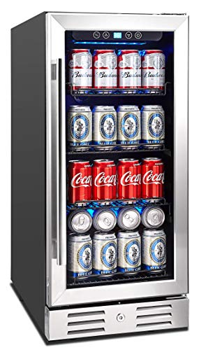 Kalamera Beverage Cooler and Fridge - Fit Perfectly into 15 inch Space Under Counter or Freestanding - 96 Cans Capacity - for Soda, Water, Beer or Wine - For Kitchen or Bar with Blue Interior Light