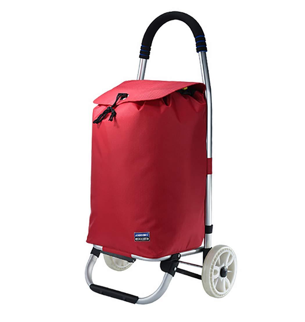 YGUOZ 大 折りたたみ ショッピングカート 買い物カート、取り外し可能なバッグでエコ 買い物キャリー、2 輪でショッピングキャリー 二重使用、(40L),red  red B07MQY34X2