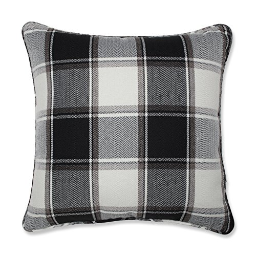 Pillow Perfect Herringbone Plaid Black 18-inch Throw Pillow For Sale