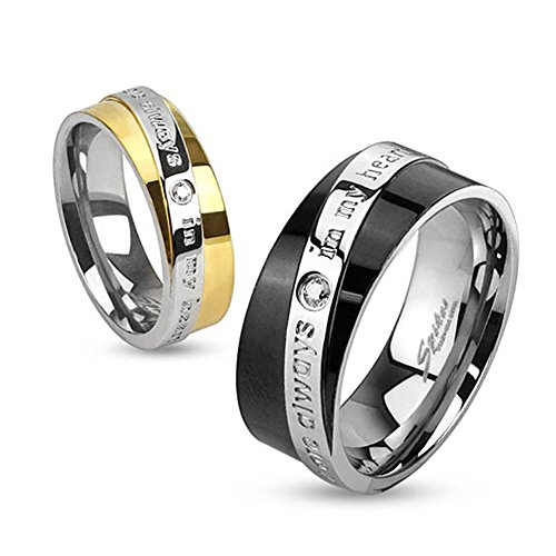 West Coast Jewelry You are Always in My Heart Diagonal Engraved Two Toned Gold Plated Stainless Steel Ring - Size 8