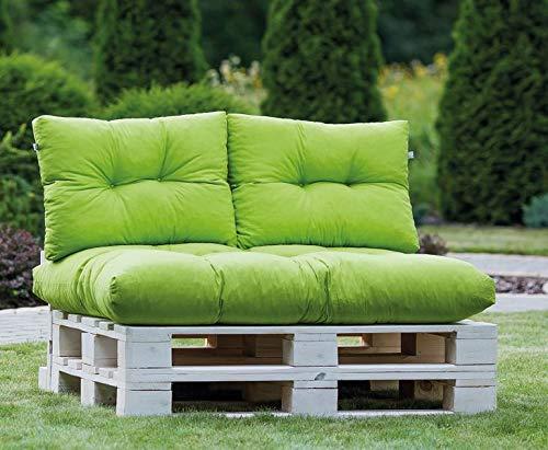Wolkenkind, Palettenpolster Eco, Auflage, Palettenkissen Set, 2 x Rückenkissen,1 x Sitzkissen, Farbe Lemongrün
