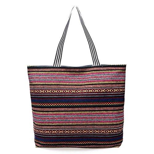 JAGENIE Shoulder Beach Women 4 Fashion Hobo Shopping Tote Bag Canvas Zipper Large Handbag 10 AqwxAr