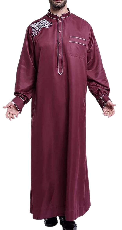 HTOOHTOOH Mens Abaya Big and Tall Long Sleeves Thobe Gown Top Arabia Saudi Top