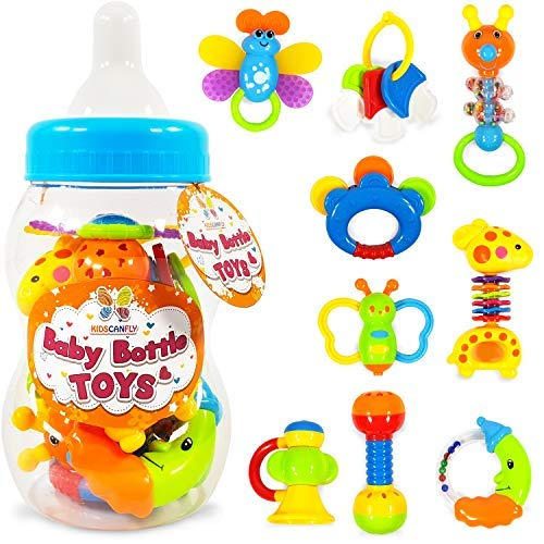 Baby Bottle Toys Teether Set - Grab and Shake Rattle Teething Toys - 9pcs Baby Rattling Toys for Chewing in a Bottle - Early Month Newborn Mouth Development Teether Toys Animal Set by Kids Can Fly
