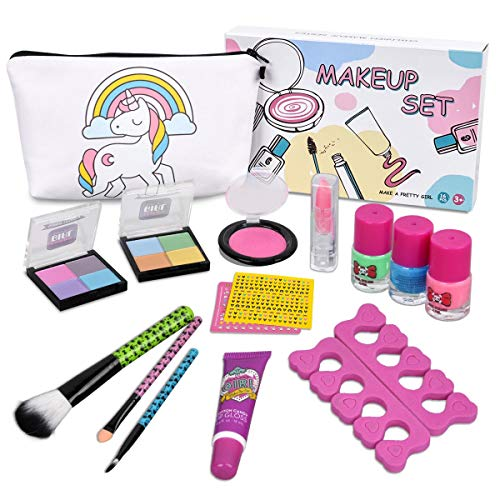 Kids Makeup Kit for Girls - Real Kids Cosmetics Make Up Set with Cute Unicorn Cosmetic Bag, Nail Polish/Eyeshadow/Lip Gloss/Blush, Washable Play Makeup for Little Girls Xmas Birthday Gift -