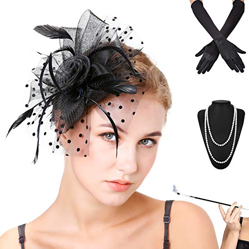 Fascinators Pillbox Tea Hat for Women Tea Party Accessories Set - Kentucky Derby Headband,Gloves, Long Cigarette Holder (OneSize, 3-Black)]()