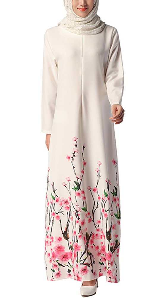 Aro Lora Women's Floral Arab Kaftan Abaya Muslim Maxi Long Dresses Medium White