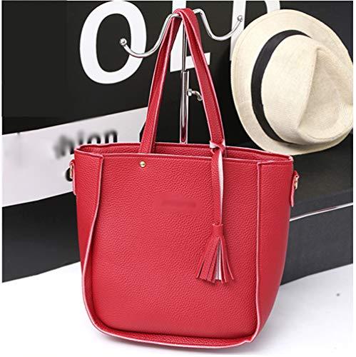 Portafoglio 4 In Borsa Zengbang Shopping Crossbody Borsetta Set A Pu Rosso Donna Pezzi Tracolla Pelle Spalla C11Xw85q