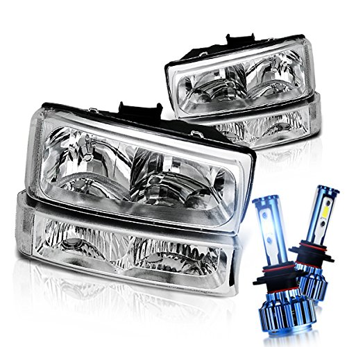 ilverado Avalanche Clear Lens Headlights Bumper Lights Set with 6000K LED Kit in Chrome Housing Silver Reflector ()