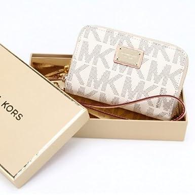 33bfadd7cde1 White Navy Michael Kors Wristlet Essential Zip Wallet Case Clutch for Iphone  5,4,