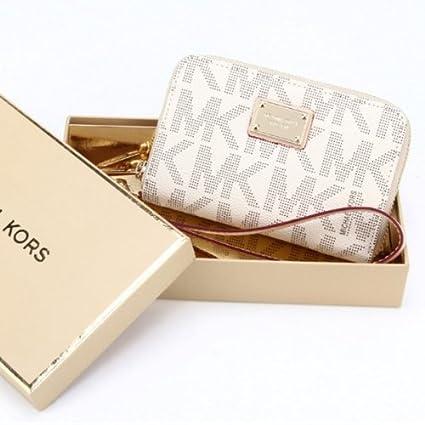 28363d189d2c42 White Navy Michael Kors Wristlet Essential Zip Wallet Case Clutch for Iphone  5,4,4s: Amazon.ca: Cell Phones & Accessories