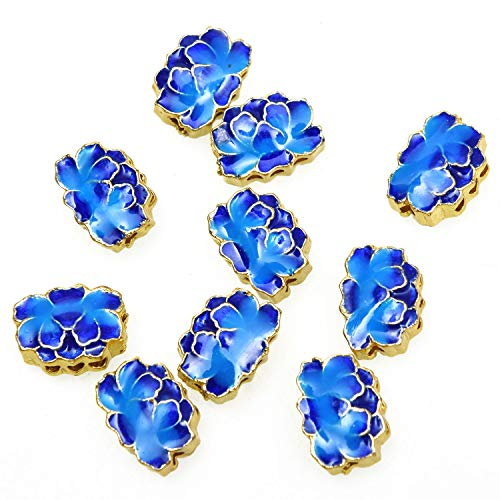 - Monrocco 10pcs Golden Plated Lotus Flower Bead Enamel Cloisonne Beads, Hole: 1mm