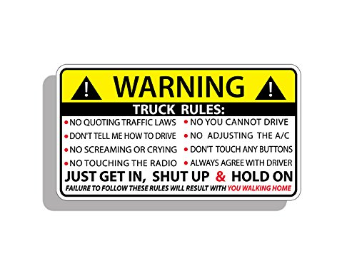 Funny Truck Safety Warning Rules Sticker Adhesive Vinyl Window Graphic Bumper ()