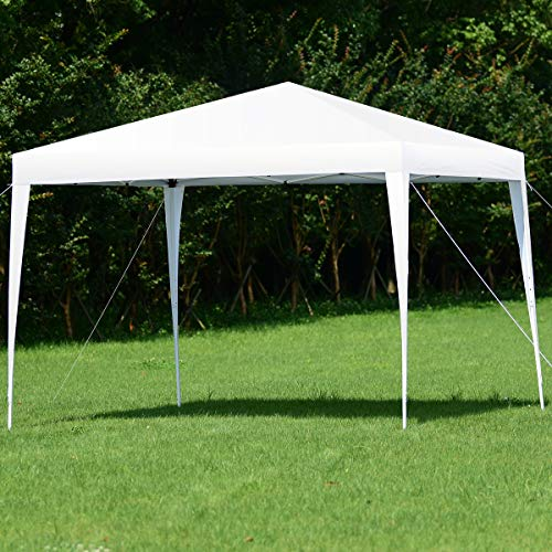 (Tangkula Outdoor Tent 10'X10' EZ Pop Up Portable Lightweight Height Adjustable Study Instant All Weather Resitant Event Party Wedding Park Canopy Gazebo Shelter Tent with Carry Bag (White))