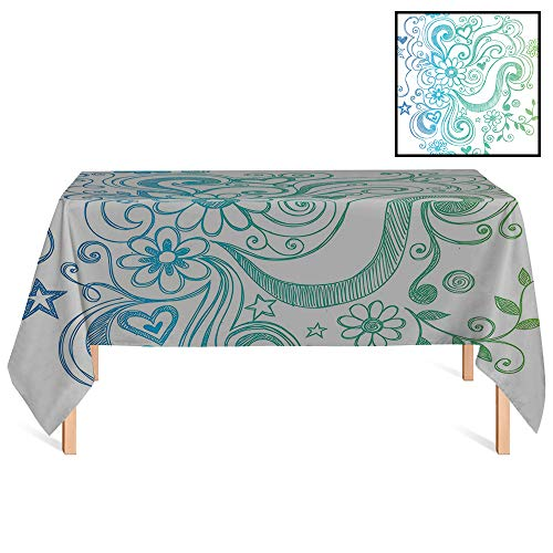 SATVSHOP Tablecloth /55x70 Rectangular,Flowers Rainbow Colored Ombre Sketch Design with Florals Blossom Ivy Leaves ES Blue White Turquoise Green.for Wedding/Banquet/Restaurant.