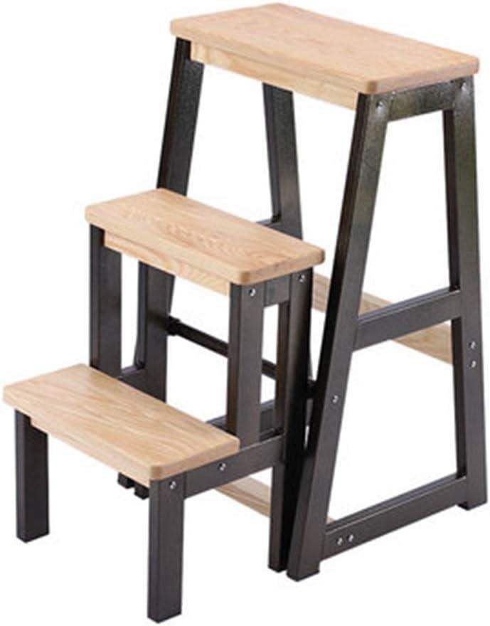 OhLt-j Cocina de los taburetes, Escalera de los taburetes Escalera plegable de tres pasos for el hogar Silla de usos múltiples for interiores Escalera de escalada for interiores (Color: Marrón, Tamaño: Amazon.es: