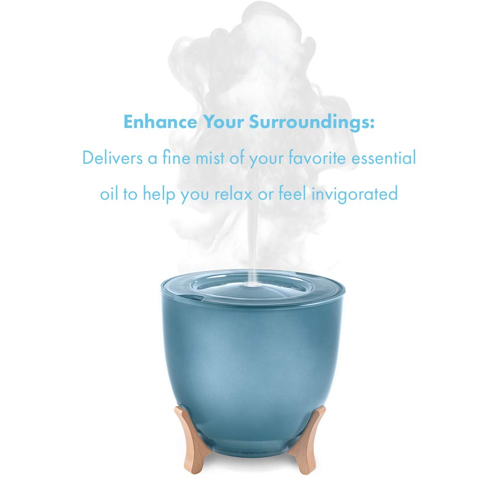 Ellia, Aspire Ultrasonic Essential Oil Aromatherapy Diffuser with 3 Oil Samples, 10 Hours Continuous Runtime, Remote, Mood Light & Sounds. 200mL Reservoir Size. Glass & Wood, Blue ARM-1210BL by Ellia (Image #4)