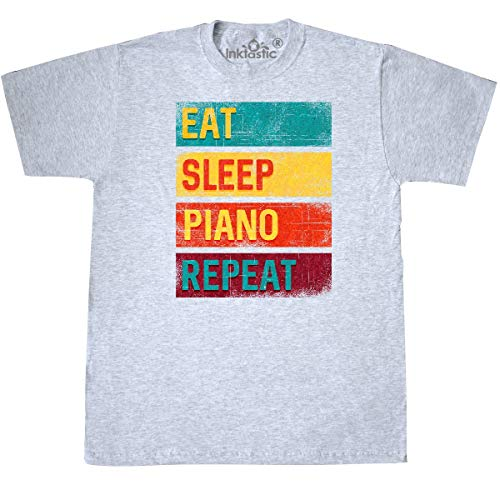 - inktastic - Piano Teacher Eat Sleep Piano T-Shirt XXX-Large Ash Grey 36146