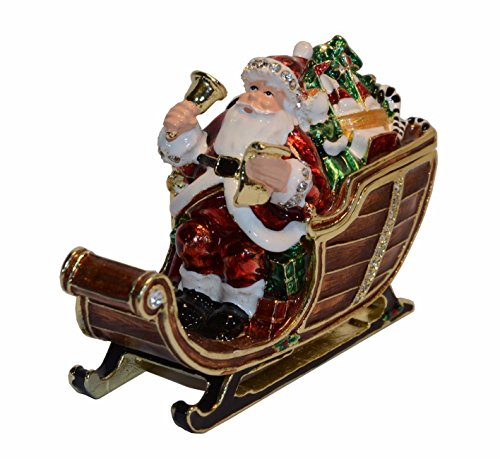 Santa Claus Jewelled Enameled Trinket Box Christmas Gift Tabletop Ornament (Santa Claus #2)