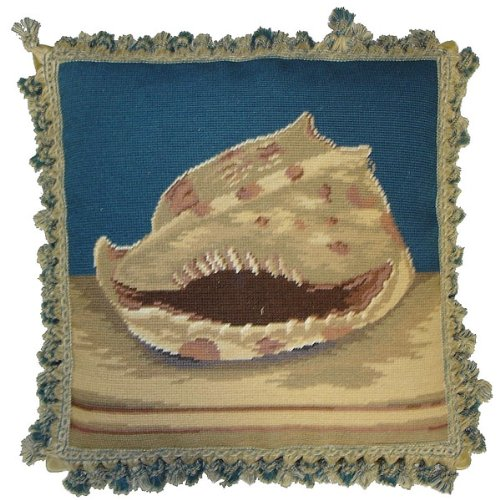 Deluxe Pillows Toothy Shell - 18 by 18 in. needlepoint pillow (Shell Needlepoint Pillow)