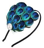 Aniwon Fascinator Hair Hoop Peacock Feather Headband Bridal Headwear for Women