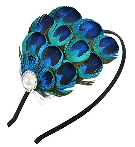 Aniwon Fascinator Hair Hoop Peacock Feather Headband Bridal Headwear for Women]()