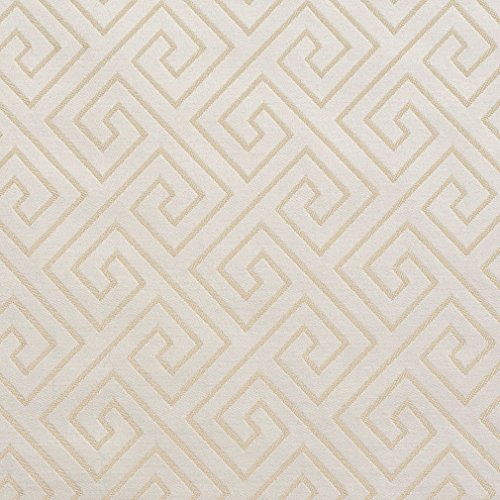 White Greek Drapes - Ivory Greek Key Gold Yellow White Contemporary Abstract Geometric Damask Jacquard Linen Silk Looks Fade Resistant Upholstery Fabric by the yard