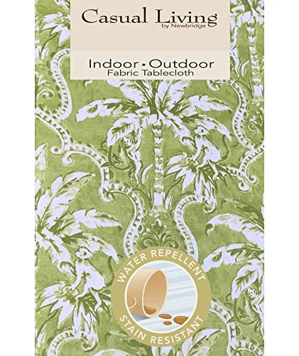Newbridge Rafiki Lime Green Tropical Palm Tree Print Indoor/Outdoor Fabric Tablecloth - Monkey Jungle Design Picnic, BBQ, and Patio Tablecloth, 60 Inch X 84 Inch Oval