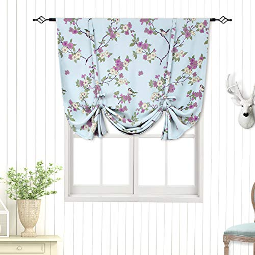 - BGment Tie Up Curtain, Rod Pocket Balloon Shades for Small Window, Thermal Insulated Printed Floral Bird Patterns Blackout Curtain for Bedroom, Single Panel, 42 x 63 Inch, Blue