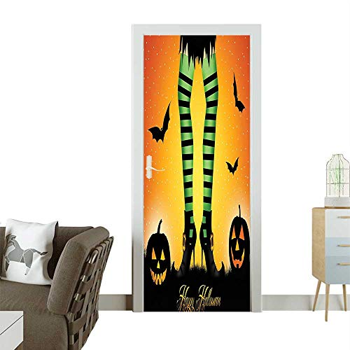 Homesonne 3D Photo Door Murals Witch Legs Striped Leggings Culture cept Bats and Pumpkins Easy to Clean and applyW23.6 x H78.7 INCH -