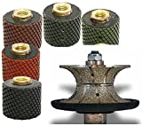 """2"""" Wet Polishing Drum 5 Pieces + 3/8"""" (10 mm) V10 Full BullNose Diamond Profile grinding Wheel for Granite Stone Marble, Full Bullnose Edge, wet polisher tile floor grinder counter top shaping cutting -  Diamond Abrasive and Power Tools"""