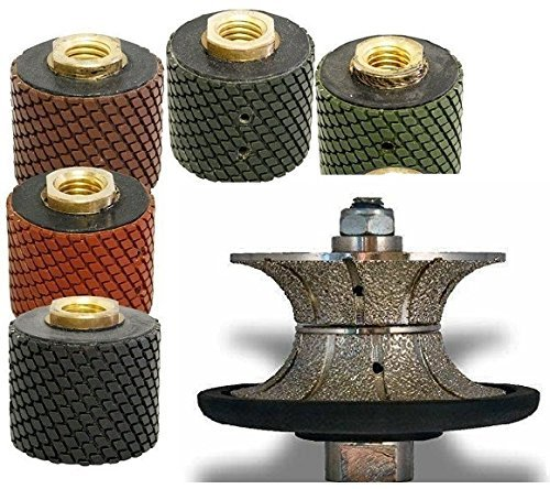 "2"" Wet Polishing Drum 5 Pieces + 3/8"" (10 mm) V10 Full BullNose Diamond Profile grinding Wheel for Granite Stone Marble, Full Bullnose Edge, wet polisher tile floor grinder counter top shaping cutting"