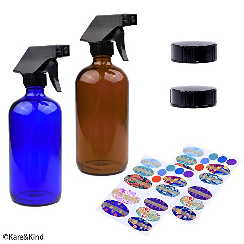 Kare & Kind Essential Oil Bottle Kit. 2 Essential Oil Bottles 240ml/8oz (Cobalt Blue and Amber Brown), 2 Trigger Sprayers with Fine Mist, Powerful Stream and 'Off' Settings, 2 Storage - Of Kind Glasses