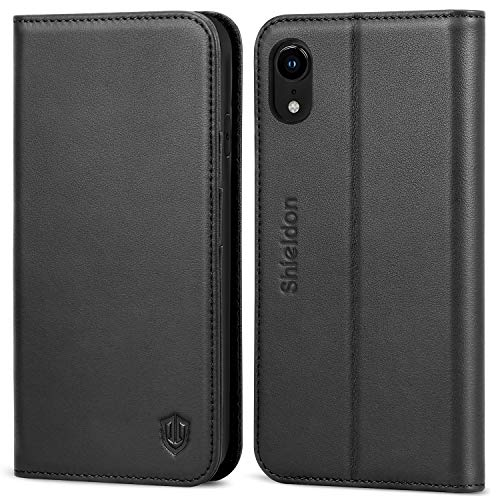 SHIELDON iPhone XR Case, Genuine Leather Flip iPhone XR Wallet Case with RFID Blocking Credit Card Holder Magnetic Closure Kickstand Compatible with iPhone XR (6.1 Inch 2018) - Black