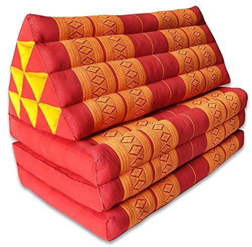 Kapok Thaikissen, Yogakissen, Massagekissen, Kopfkissen, Tantrakissen, Sitzkissen - rot/Orange Muster (Kissen mit drei Auflagen XXL 79x53x46 (81018))