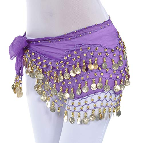 Uherebuy Chiffon Dangling Gold Coins Belly Dance Hip Skirt Scarf ()