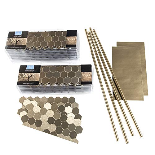 Peel and Stick Backsplash Honeycomb Champagne Matted Metal Tile for Kitchen and Bathrooms (Approx 15 Sq Ft Kit)