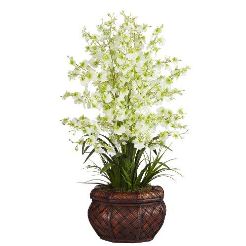 (Nearly Natural 1207-GR Dancing Lady Silk Flower Arrangement, Green)
