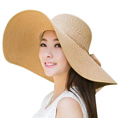Women's Summer Wide Brim Beach Hats Sexy Chapeau Large Floppy Sun Caps (Light Brown-6)