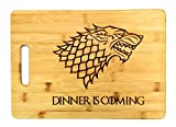 "Dinner is Coming Cutting Board, 13 3/4"" x 9 3/4"", Laser Engraved Bamboo, Funny Gift Item"