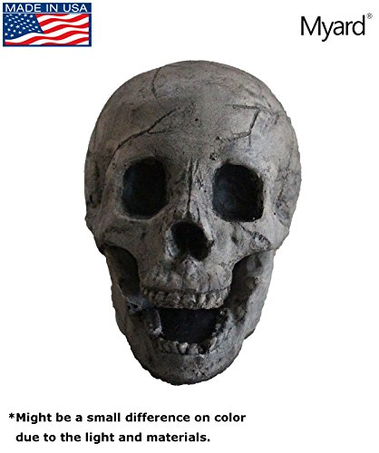 [Myard Fireproof Human Fire Pit Skull Gas Log for NG, LP Wood Fireplace, Firepit, Campfire, Halloween Decor, Grill (Aged Dark Grey Skull, 1pk)] (Dark Pit Costumes)