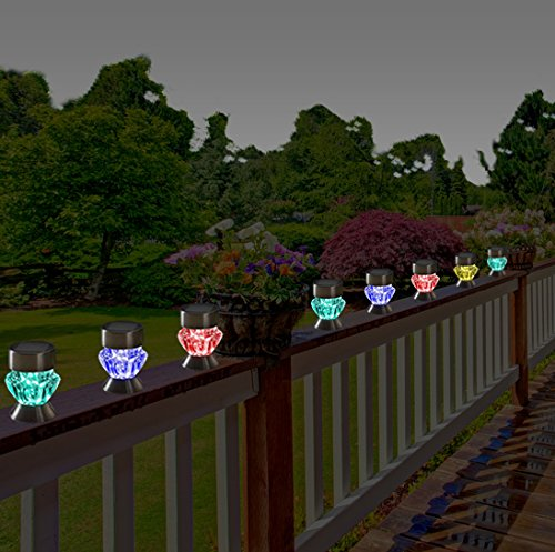 Solar Outdoor Patio Deck Lights: 4 Pack Stainless Steel Color Changing Solar Pathway LED