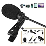 Lavalier Lapel Microphone Kit, Z ZAFFIRO Clip on Omnidirectional Condenser Lav Mic for iPhone, Ipad, DSLR, Camcorder, Zoom/Tascam Recorder, PC, MacBook, Samsung Android, Smartphones